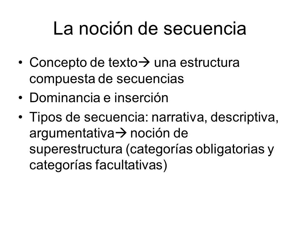 La noción de secuencia Concepto de texto una estructura compuesta de secuencias Dominancia e inserción Tipos de secuencia: narrativa, descriptiva, argumentativa noción de superestructura (categorías obligatorias y categorías facultativas)