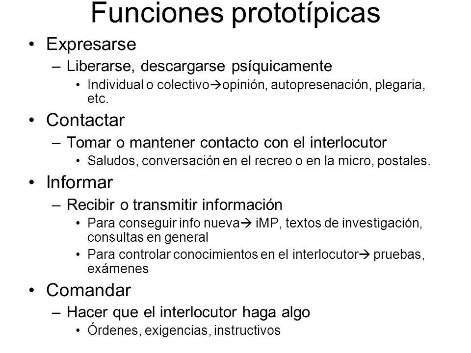 Funciones prototípicas Expresarse –Liberarse, descargarse psíquicamente Individual o colectivo opinión, autopresenación, plegaria, etc. Contactar –Tom
