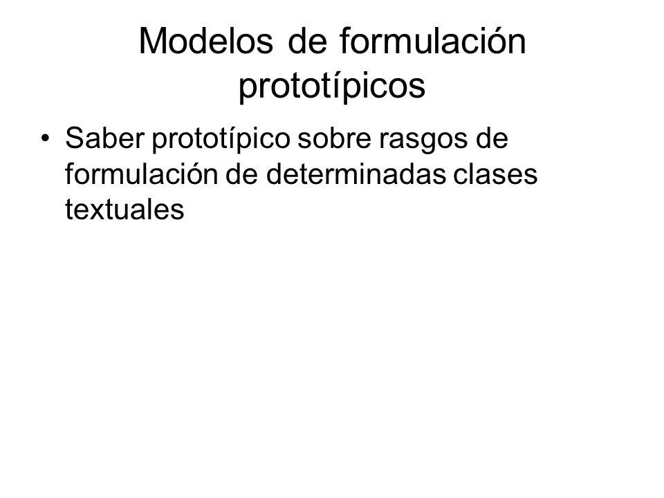Modelos de formulación prototípicos Saber prototípico sobre rasgos de formulación de determinadas clases textuales
