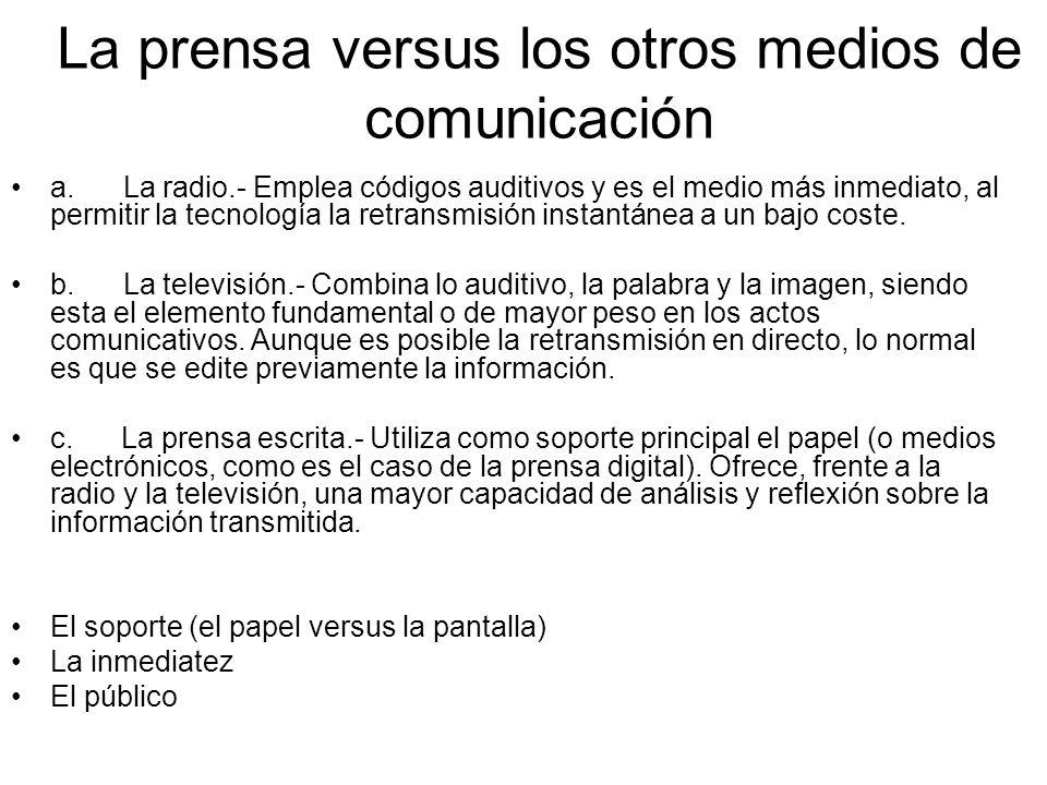 La prensa versus los otros medios de comunicación a. La radio.- Emplea códigos auditivos y es el medio más inmediato, al permitir la tecnología la ret