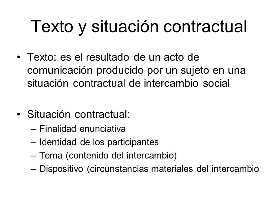 Texto y situación contractual Texto: es el resultado de un acto de comunicación producido por un sujeto en una situación contractual de intercambio so