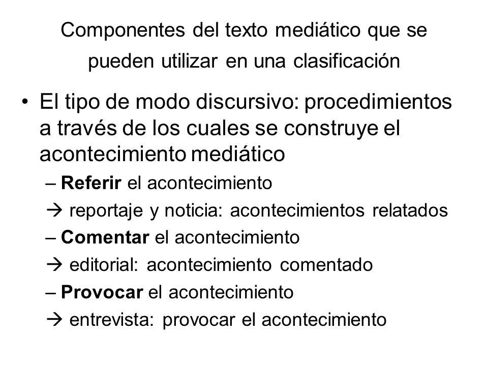 Componentes del texto mediático que se pueden utilizar en una clasificación El tipo de modo discursivo: procedimientos a través de los cuales se const