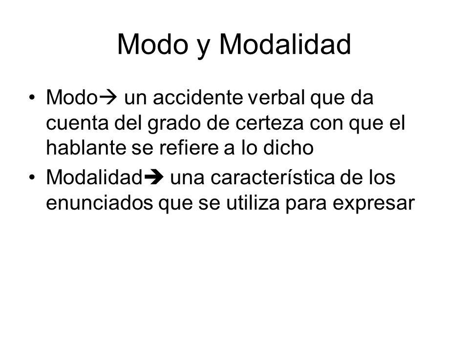 Modo y Modalidad Modo un accidente verbal que da cuenta del grado de certeza con que el hablante se refiere a lo dicho Modalidad una característica de los enunciados que se utiliza para expresar