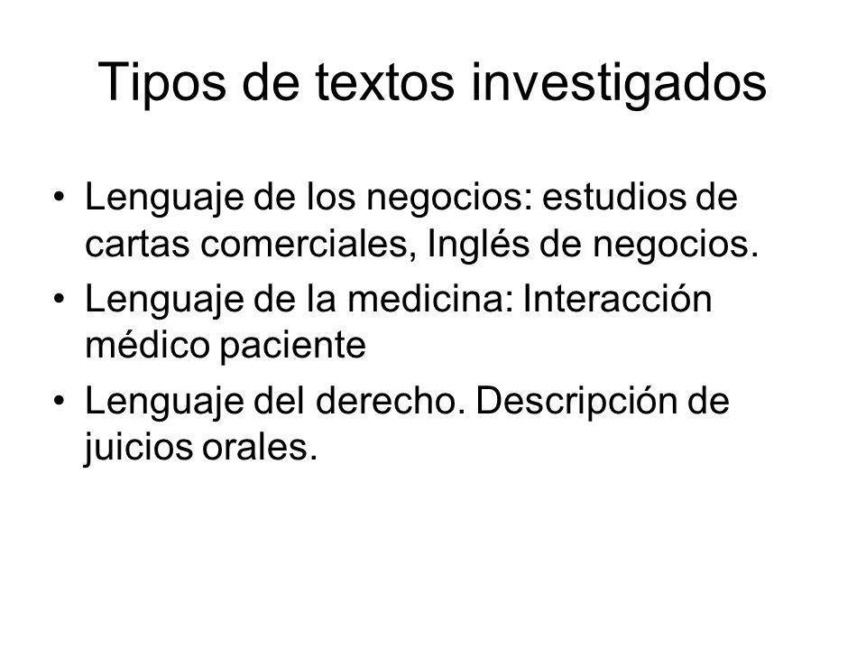 Tipos de textos investigados Lenguaje de los negocios: estudios de cartas comerciales, Inglés de negocios. Lenguaje de la medicina: Interacción médico