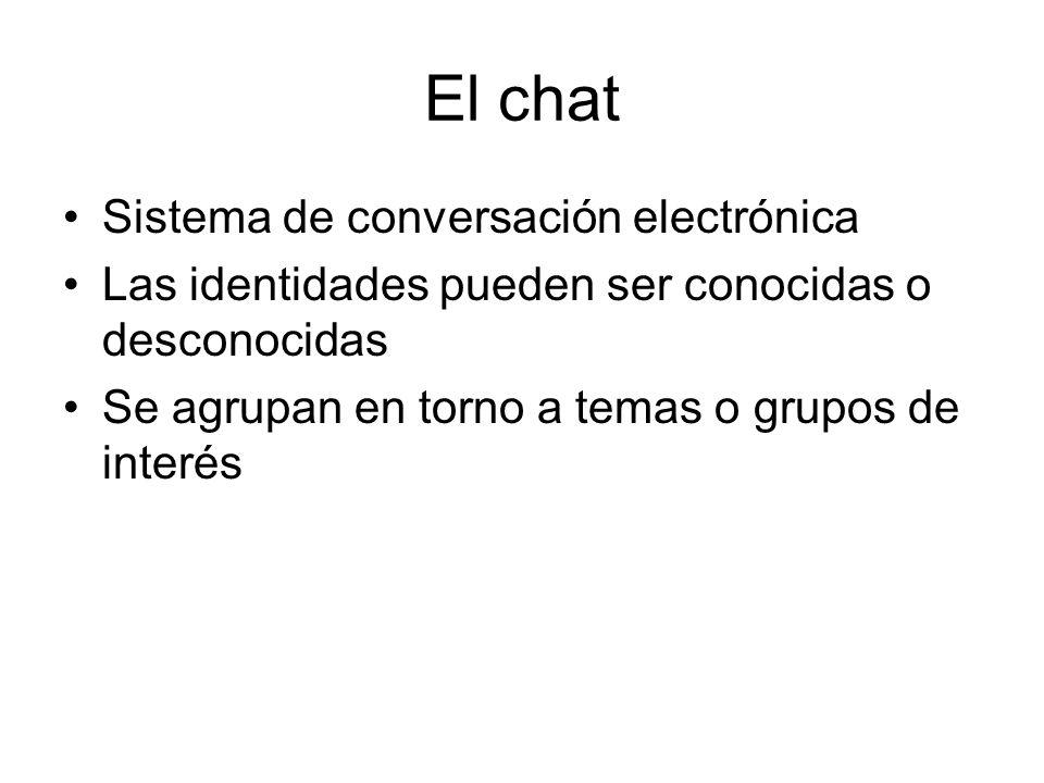 El chat Sistema de conversación electrónica Las identidades pueden ser conocidas o desconocidas Se agrupan en torno a temas o grupos de interés