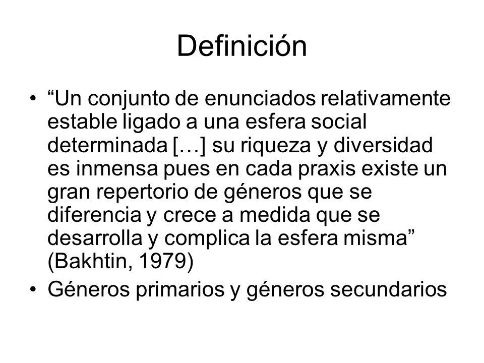 Definición Un conjunto de enunciados relativamente estable ligado a una esfera social determinada […] su riqueza y diversidad es inmensa pues en cada