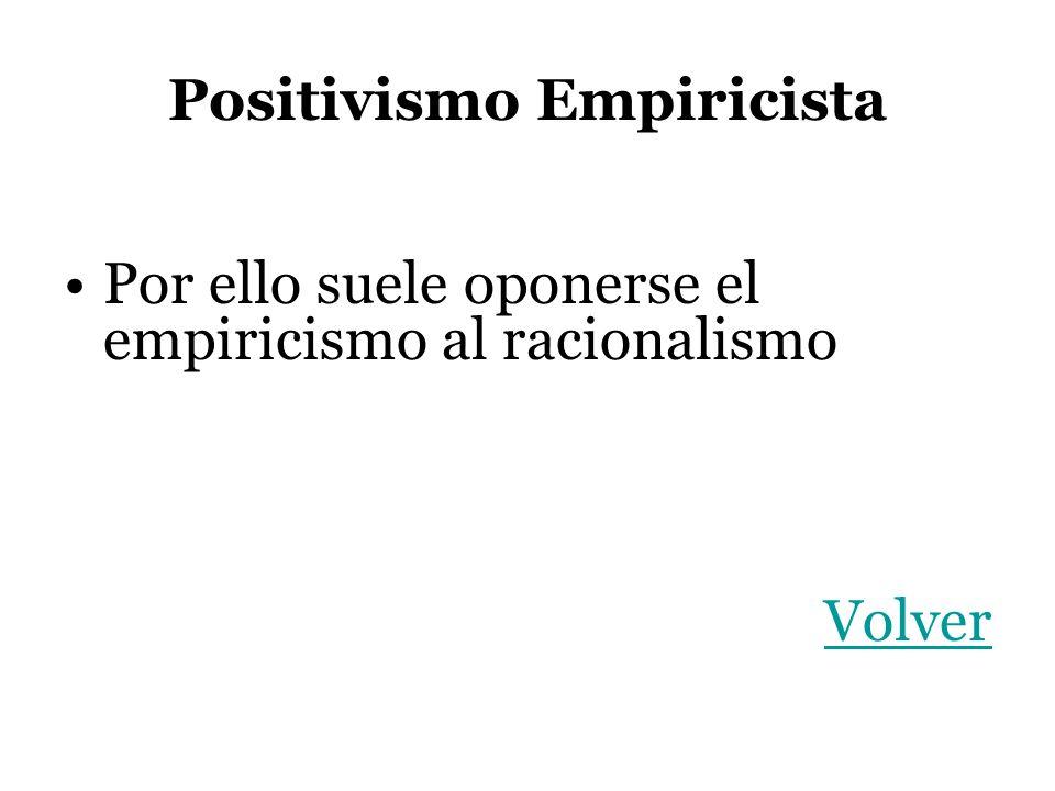 Positivismo Empiricista Por ello suele oponerse el empiricismo al racionalismo Volver