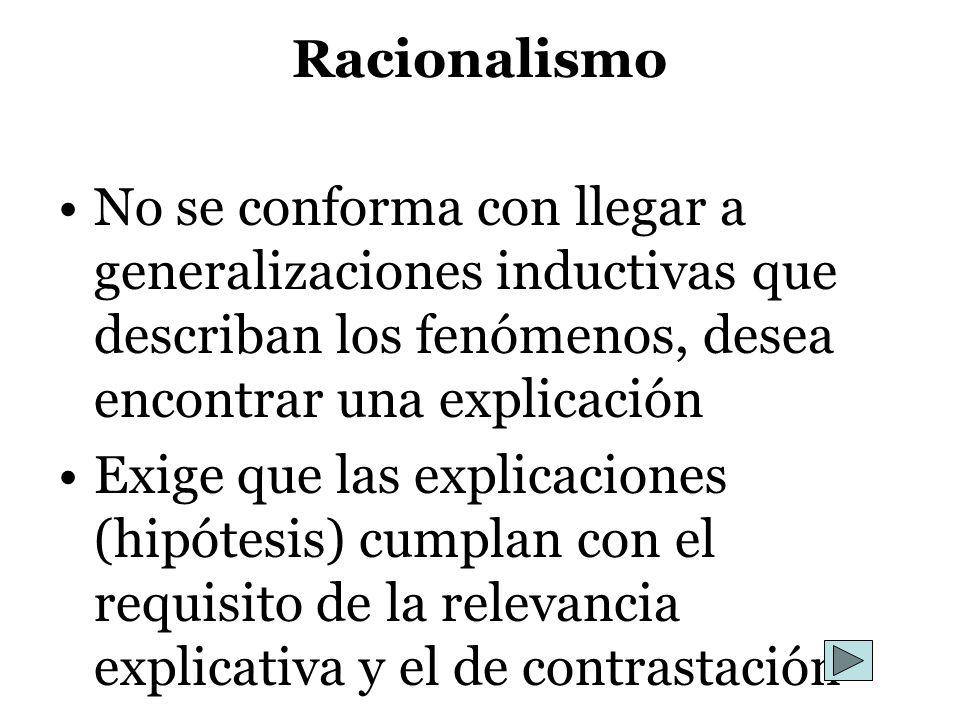 Racionalismo No se conforma con llegar a generalizaciones inductivas que describan los fenómenos, desea encontrar una explicación Exige que las explic