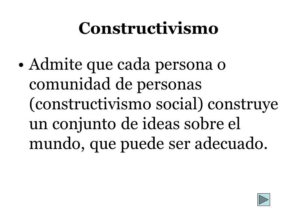 Constructivismo Admite que cada persona o comunidad de personas (constructivismo social) construye un conjunto de ideas sobre el mundo, que puede ser