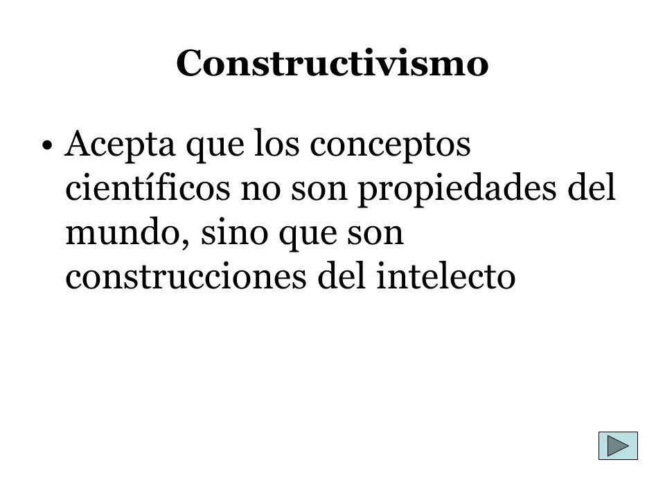Constructivismo Acepta que los conceptos científicos no son propiedades del mundo, sino que son construcciones del intelecto