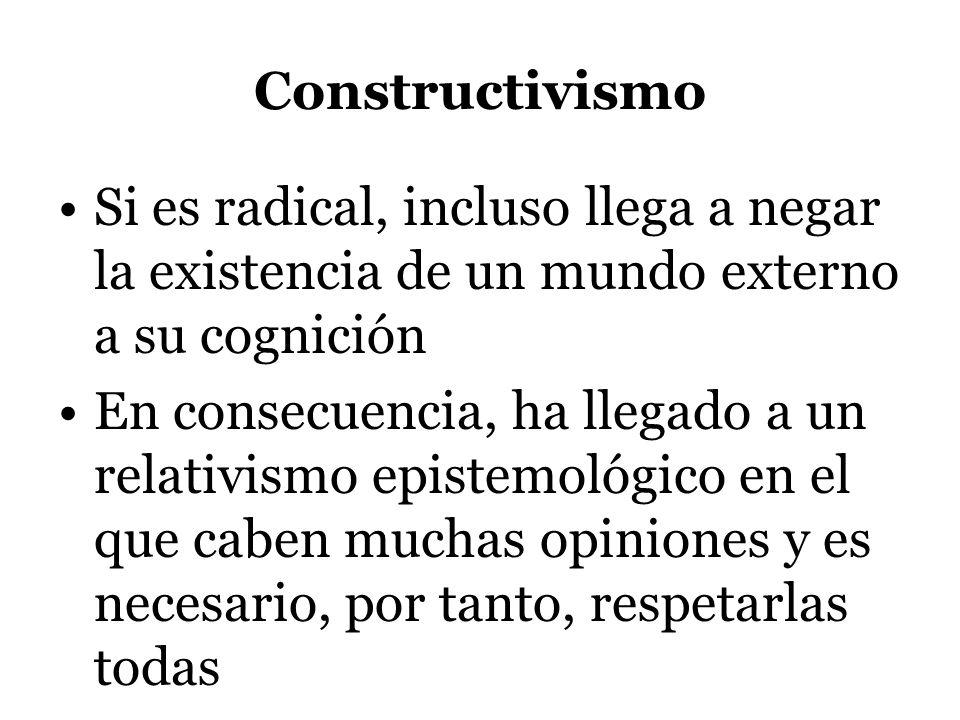 Constructivismo Si es radical, incluso llega a negar la existencia de un mundo externo a su cognición En consecuencia, ha llegado a un relativismo epi