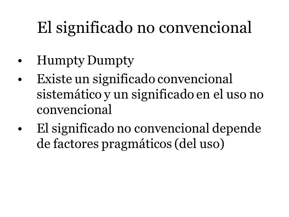 El significado no convencional Humpty Dumpty Existe un significado convencional sistemático y un significado en el uso no convencional El significado