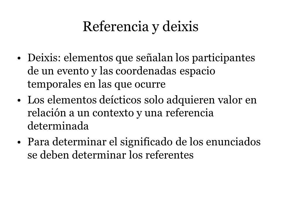 Referencia y deixis Deixis: elementos que señalan los participantes de un evento y las coordenadas espacio temporales en las que ocurre Los elementos