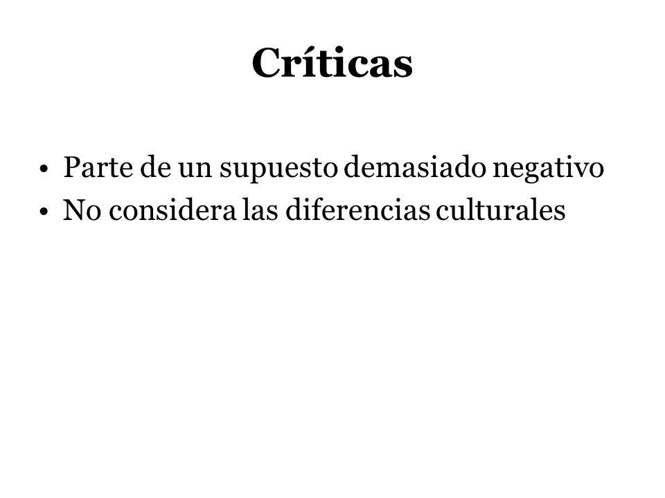 Críticas Parte de un supuesto demasiado negativo No considera las diferencias culturales