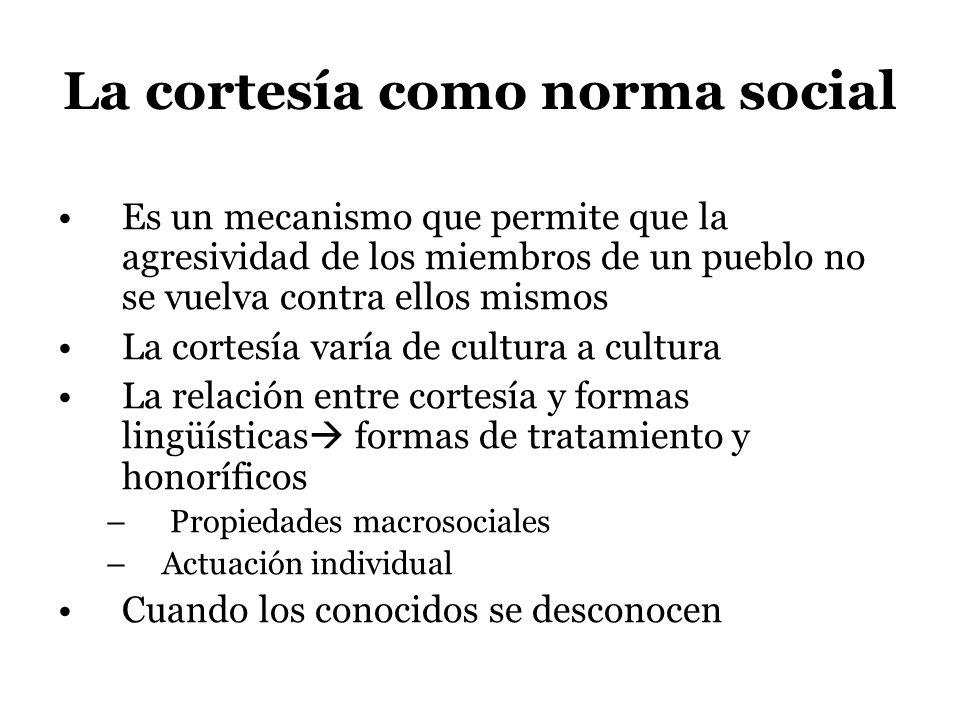 La cortesía como norma social Es un mecanismo que permite que la agresividad de los miembros de un pueblo no se vuelva contra ellos mismos La cortesía