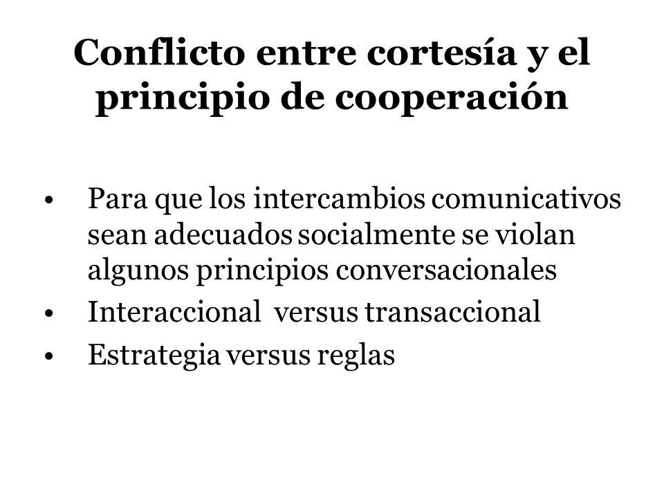 Conflicto entre cortesía y el principio de cooperación Para que los intercambios comunicativos sean adecuados socialmente se violan algunos principios