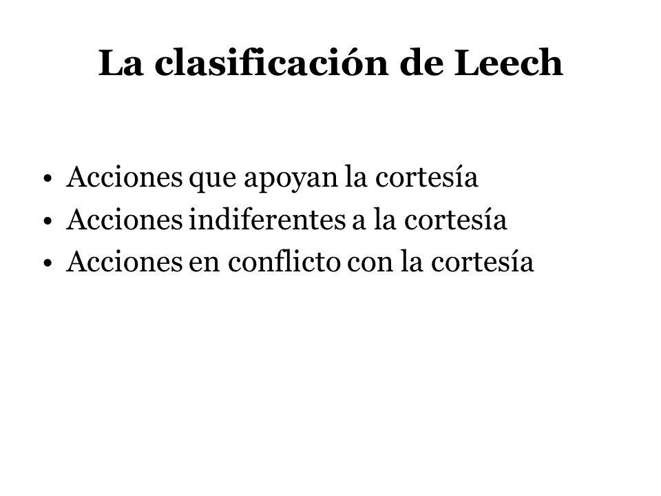 La clasificación de Leech Acciones que apoyan la cortesía Acciones indiferentes a la cortesía Acciones en conflicto con la cortesía