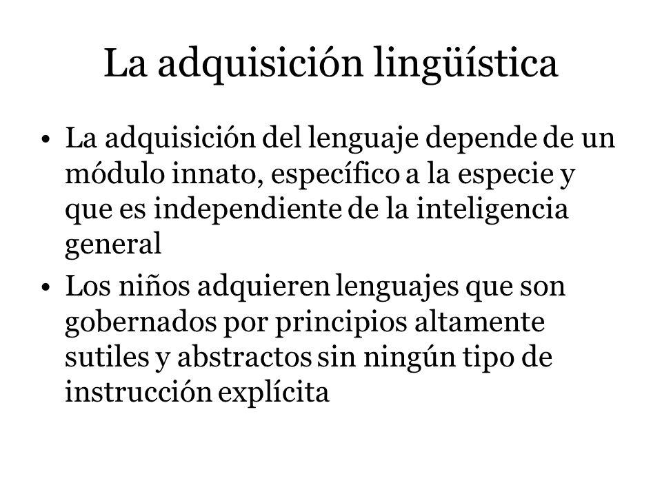 La adquisición lingüística Al nacer, los infantes vienen equipados con un mecanismo de adquisición lingüística PLD LAD G PLD no cumplen un rol importante solo funcionan como gatilladores de un proceso innato La adquisición lingüística supone un mínimo esfuerzo por parte del niño ya que la base de dicha adquisición viene dada de forma innata