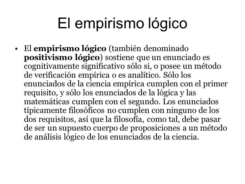 El empirismo lógico El empirismo lógico (también denominado positivismo lógico) sostiene que un enunciado es cognitivamente significativo sólo si, o p