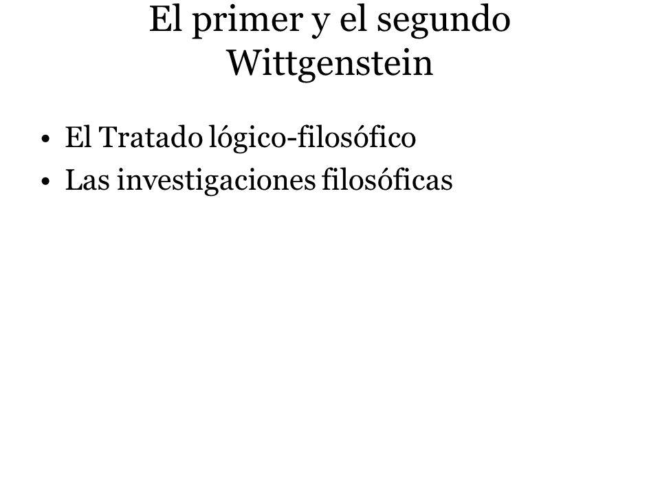 El primer y el segundo Wittgenstein El Tratado lógico-filosófico Las investigaciones filosóficas