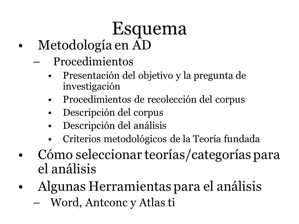 Esquema Metodología en AD – Procedimientos Presentación del objetivo y la pregunta de investigación Procedimientos de recolección del corpus Descripci