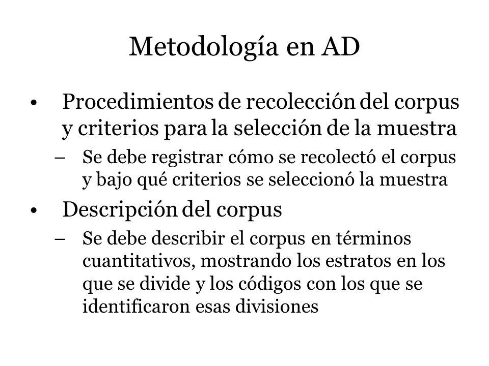 Metodología en AD Procedimientos de recolección del corpus y criterios para la selección de la muestra –Se debe registrar cómo se recolectó el corpus