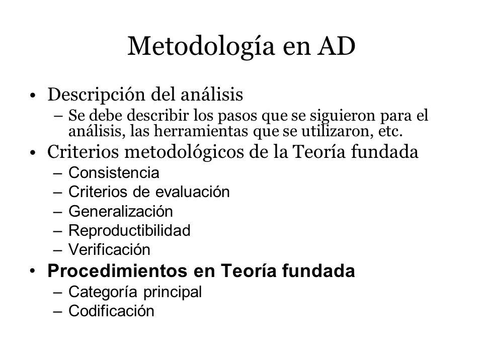 Metodología en AD Descripción del análisis –Se debe describir los pasos que se siguieron para el análisis, las herramientas que se utilizaron, etc. Cr