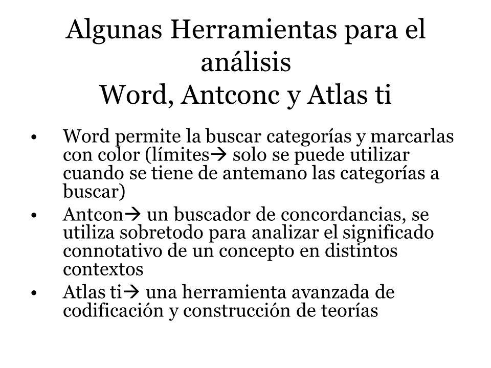 Algunas Herramientas para el análisis Word, Antconc y Atlas ti Word permite la buscar categorías y marcarlas con color (límites solo se puede utilizar
