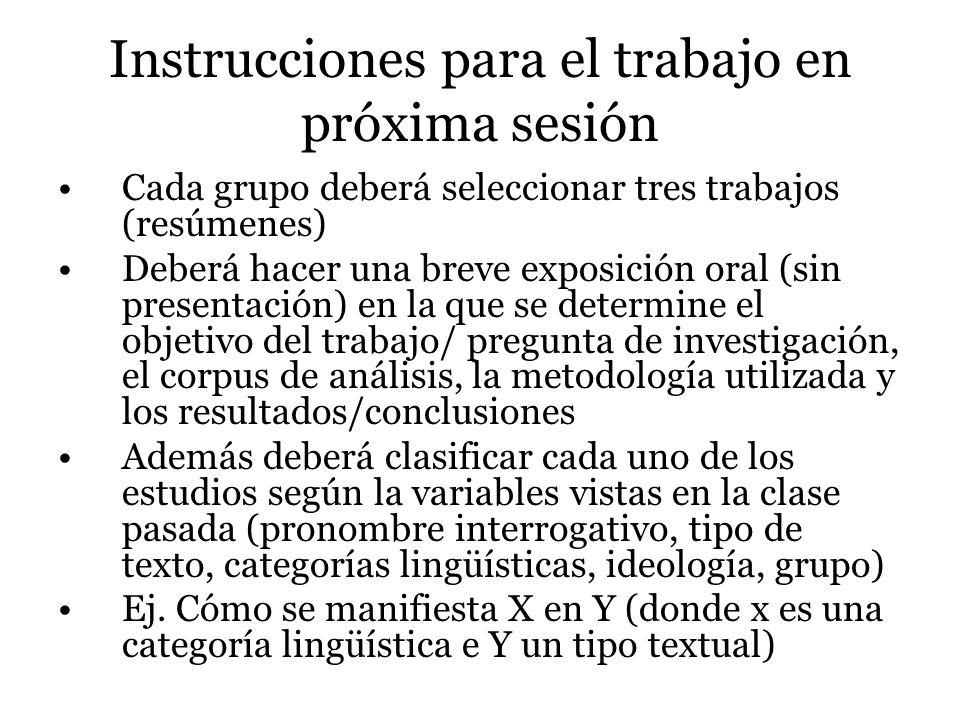 Instrucciones para el trabajo en próxima sesión Cada grupo deberá seleccionar tres trabajos (resúmenes) Deberá hacer una breve exposición oral (sin pr