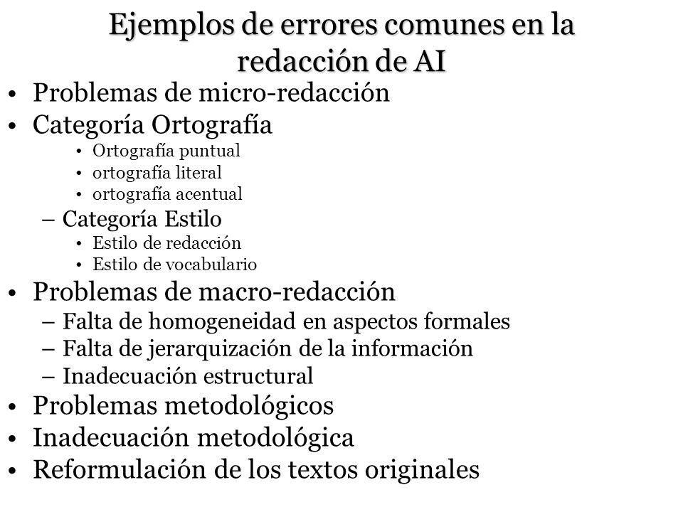 Ejemplos de errores comunes en la redacción de AI Problemas de micro-redacción Categoría Ortografía Ortografía puntual ortografía literal ortografía a