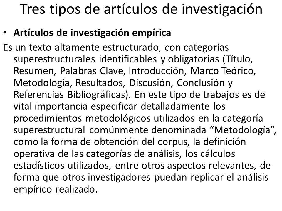 Tres tipos de artículos de investigación Artículos de investigación o estudios Es un texto menos estructurado y más laxo que el artículo de investigación empírica.
