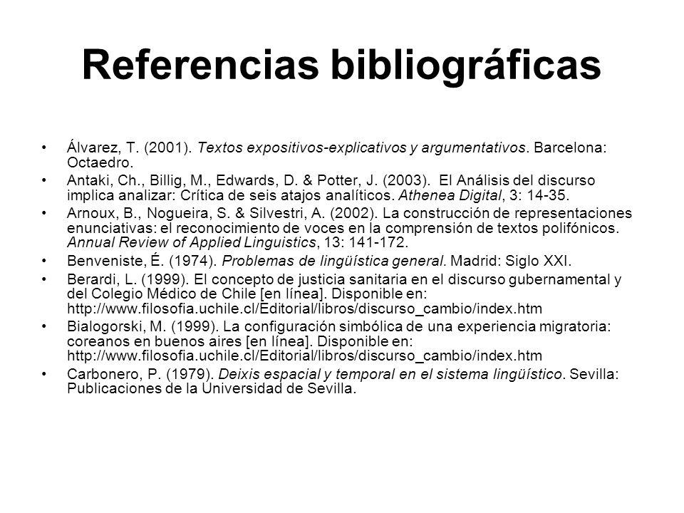 Referencias bibliográficas Álvarez, T. (2001). Textos expositivos-explicativos y argumentativos. Barcelona: Octaedro. Antaki, Ch., Billig, M., Edwards