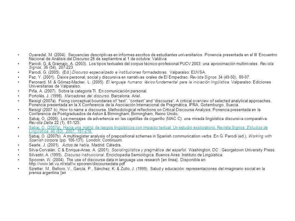 Oyanedel, M. (2004). Secuencias descriptivas en informes escritos de estudiantes universitarios. Ponencia presentada en el III Encuentro Nacional de A