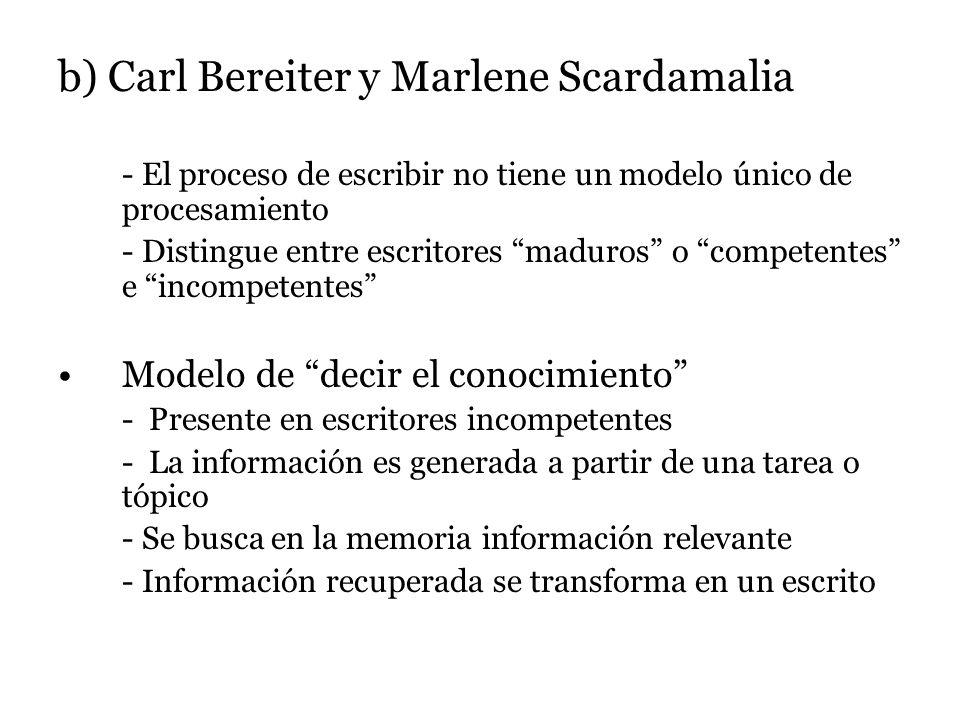 b) Carl Bereiter y Marlene Scardamalia - El proceso de escribir no tiene un modelo único de procesamiento - Distingue entre escritores maduros o competentes e incompetentes Modelo de decir el conocimiento - Presente en escritores incompetentes - La información es generada a partir de una tarea o tópico - Se busca en la memoria información relevante - Información recuperada se transforma en un escrito