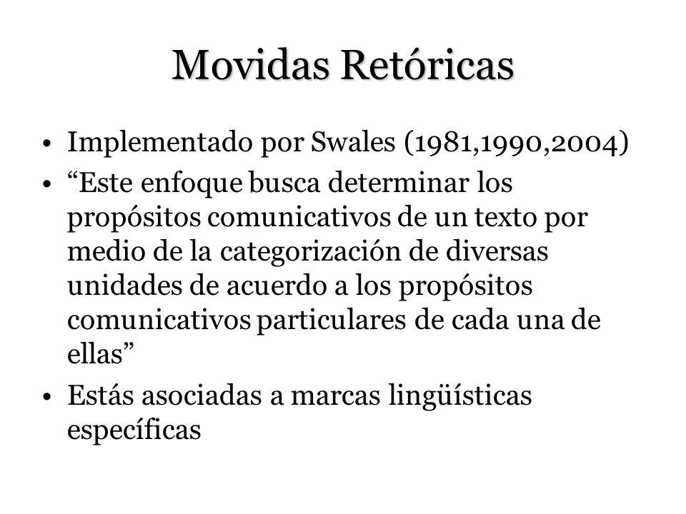 Movidas Retóricas Implementado por Swales (1981,1990,2004) Este enfoque busca determinar los propósitos comunicativos de un texto por medio de la categorización de diversas unidades de acuerdo a los propósitos comunicativos particulares de cada una de ellas Estás asociadas a marcas lingüísticas específicas