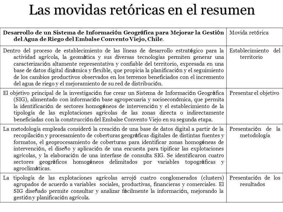 Las movidas retóricas en el resumen Desarrollo de un Sistema de Informaci ó n Geogr á fica para Mejorar la Gesti ó n del Agua de Riego del Embalse Convento Viejo, Chile.