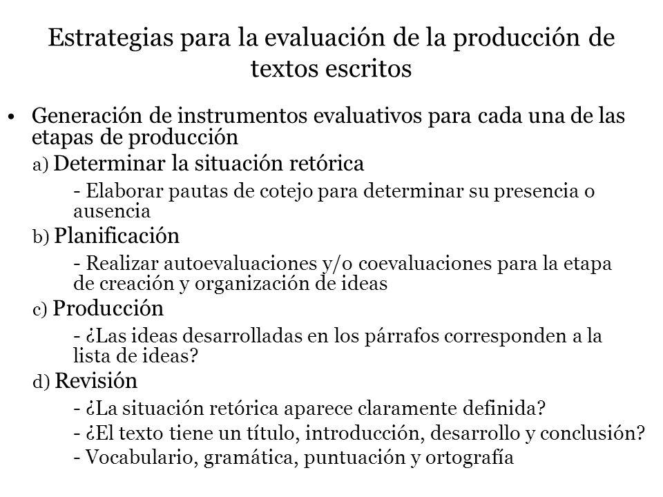 Estrategias para la evaluación de la producción de textos escritos Generación de instrumentos evaluativos para cada una de las etapas de producción a) Determinar la situación retórica - Elaborar pautas de cotejo para determinar su presencia o ausencia b) Planificación - Realizar autoevaluaciones y/o coevaluaciones para la etapa de creación y organización de ideas c) Producción - ¿Las ideas desarrolladas en los párrafos corresponden a la lista de ideas.