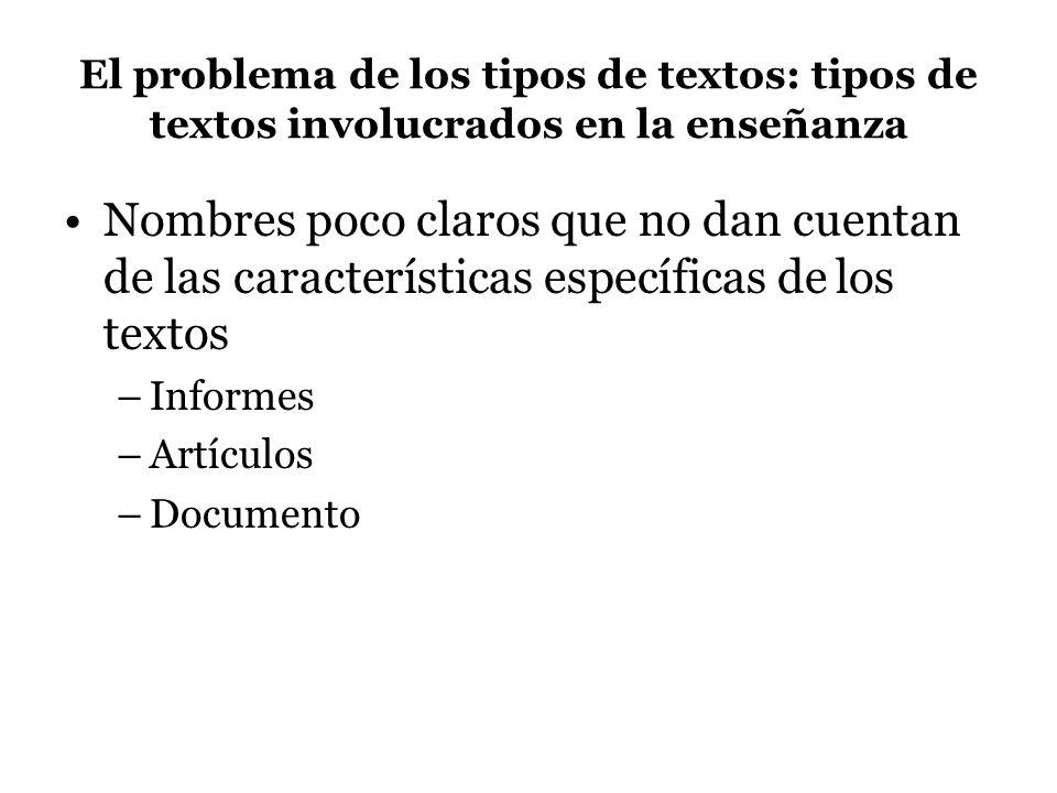 El problema de los tipos de textos: tipos de textos involucrados en la enseñanza Nombres poco claros que no dan cuentan de las características específicas de los textos –Informes –Artículos –Documento