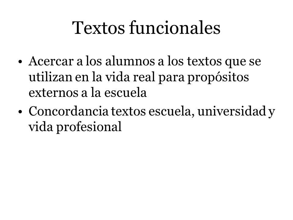 Textos funcionales Acercar a los alumnos a los textos que se utilizan en la vida real para propósitos externos a la escuela Concordancia textos escuela, universidad y vida profesional
