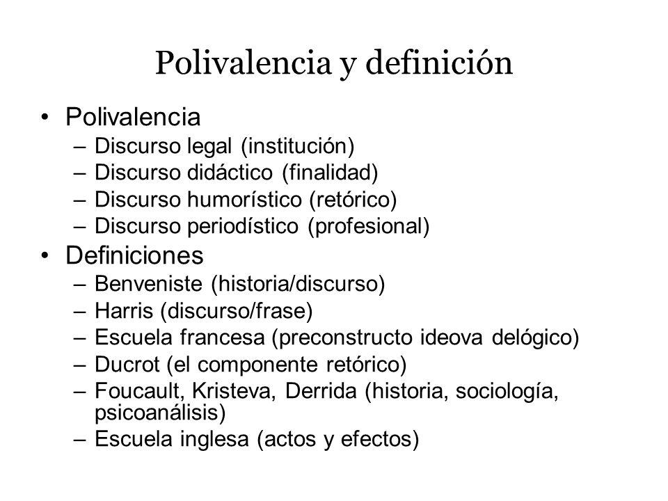 Polivalencia y definición Polivalencia –Discurso legal (institución) –Discurso didáctico (finalidad) –Discurso humorístico (retórico) –Discurso period