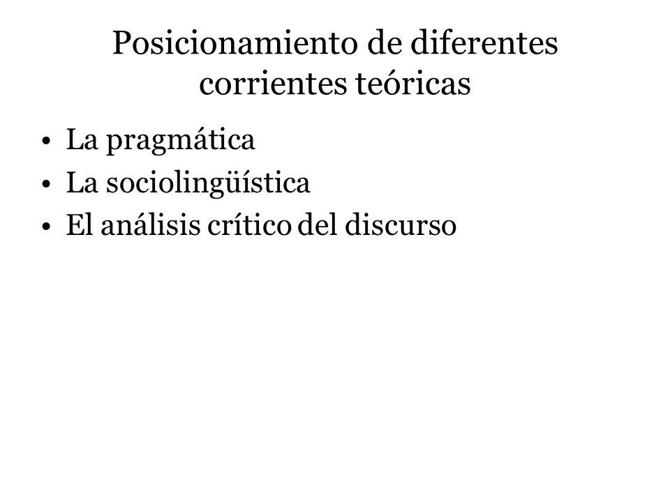 Posicionamiento de diferentes corrientes teóricas La pragmática La sociolingüística El análisis crítico del discurso
