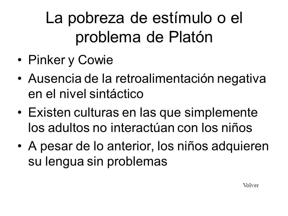 La pobreza de estímulo o el problema de Platón Pinker y Cowie Ausencia de la retroalimentación negativa en el nivel sintáctico Existen culturas en las