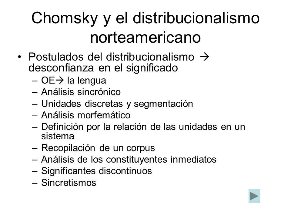 Chomsky y el distribucionalismo norteamericano Postulados del distribucionalismo desconfianza en el significado –OE la lengua –Análisis sincrónico –Un