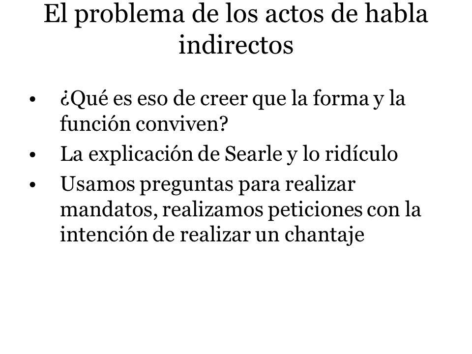 El problema de los actos de habla indirectos ¿Qué es eso de creer que la forma y la función conviven? La explicación de Searle y lo ridículo Usamos pr