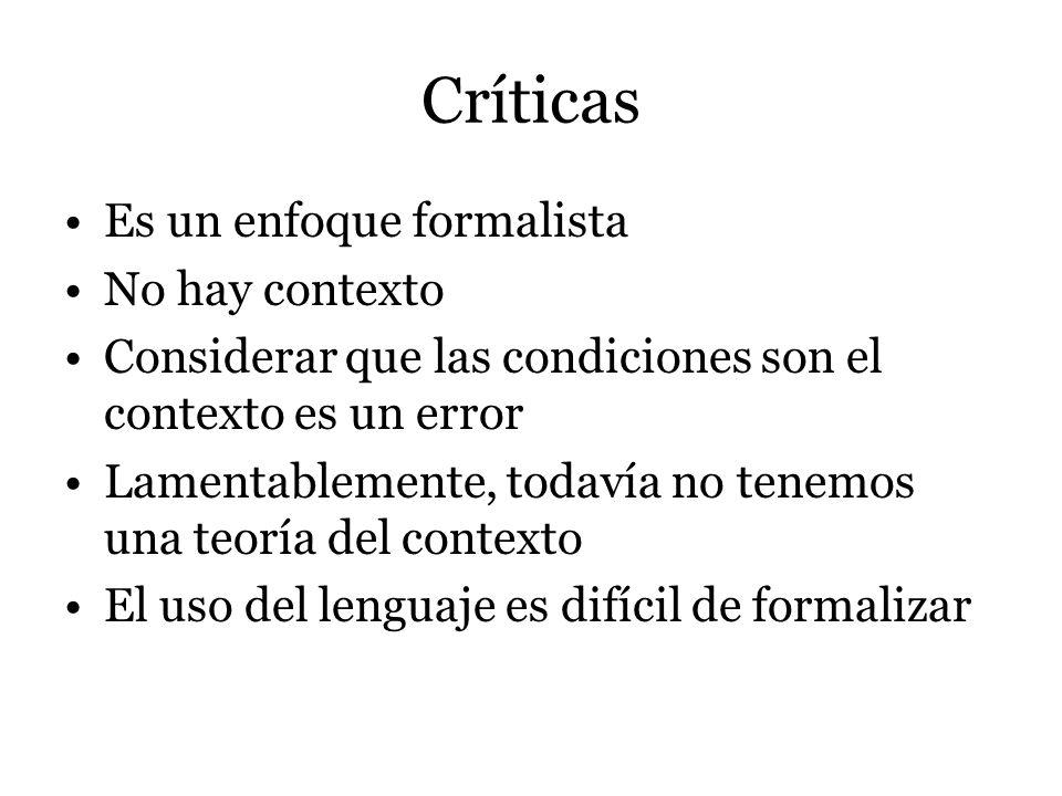 Críticas Es un enfoque formalista No hay contexto Considerar que las condiciones son el contexto es un error Lamentablemente, todavía no tenemos una t