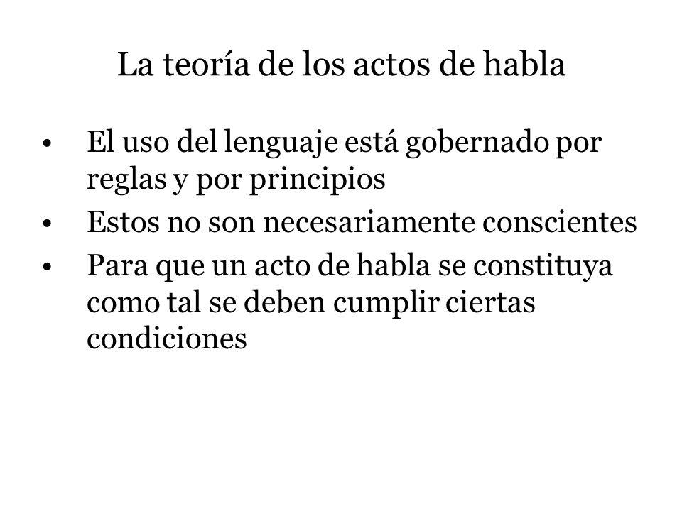 La teoría de los actos de habla El uso del lenguaje está gobernado por reglas y por principios Estos no son necesariamente conscientes Para que un act