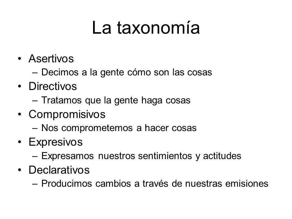 La taxonomía Asertivos –Decimos a la gente cómo son las cosas Directivos –Tratamos que la gente haga cosas Compromisivos –Nos comprometemos a hacer co