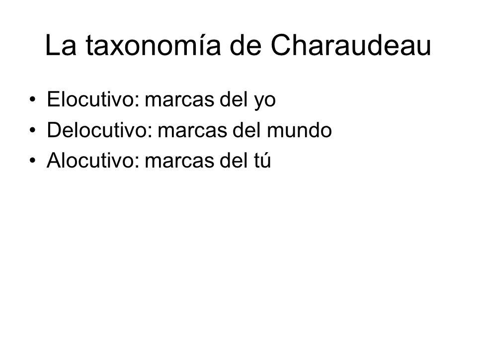 La taxonomía de Charaudeau Elocutivo: marcas del yo Delocutivo: marcas del mundo Alocutivo: marcas del tú
