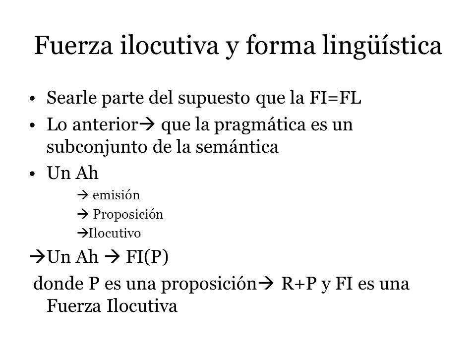 Fuerza ilocutiva y forma lingüística Searle parte del supuesto que la FI=FL Lo anterior que la pragmática es un subconjunto de la semántica Un Ah emis
