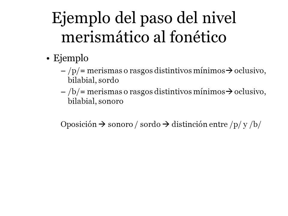 Ejemplo del paso del nivel merismático al fonético Ejemplo –/p/= merismas o rasgos distintivos mínimos oclusivo, bilabial, sordo –/b/= merismas o rasg